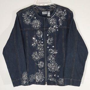 Chico's Embellished Embroidered Denim Jacket SZ 3